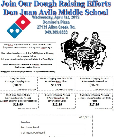 PTSA: Let's Dine Out @ Dominos on April 1, 2015